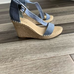 Nautica Denim Espadrille Wedge Sandals